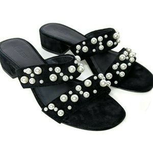 J Crew Black Double-Strap Suede Slides w/ Pearls